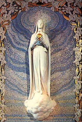 The modern day apparitions of Mary, 1830 forward, depict the Blessed Mother carrying a globe or ball with a cross on top of it.  This is symbolic for Messianic Reign.