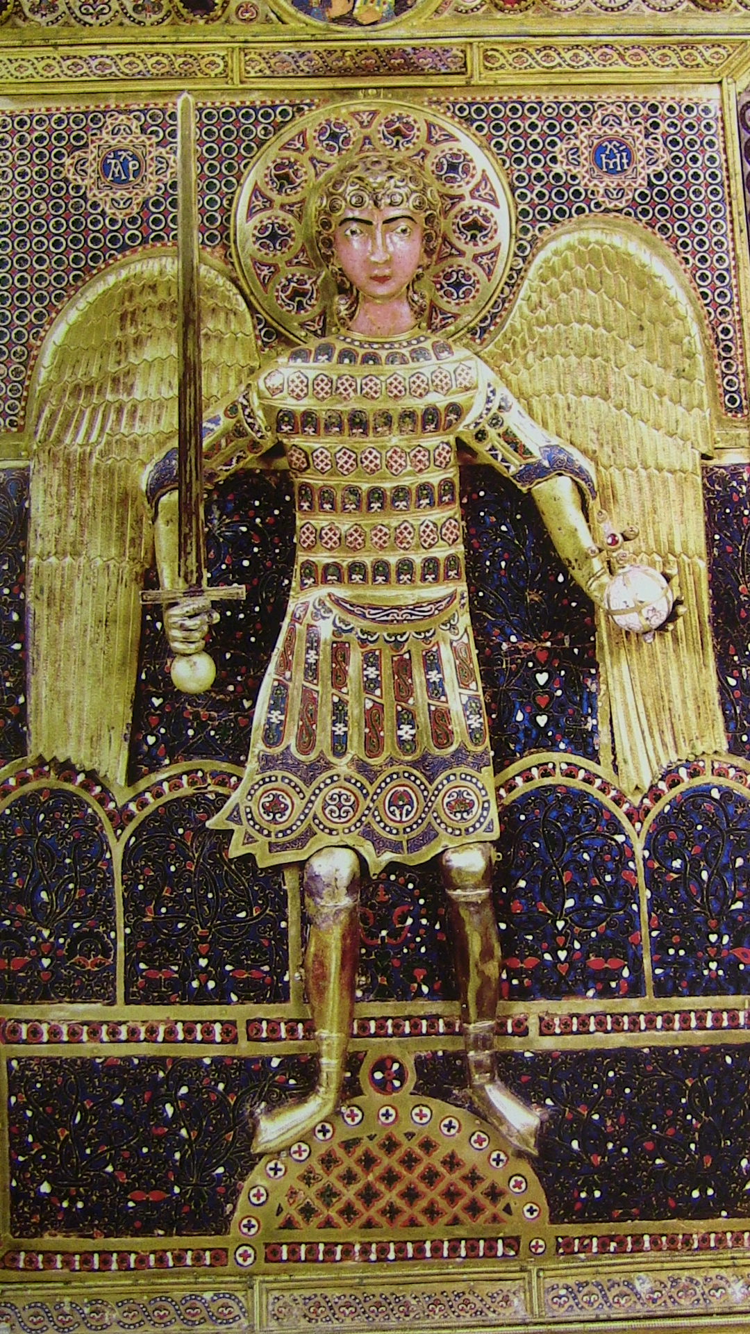 Archangel Michael with holding a globe-cross